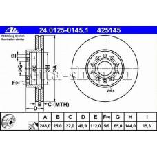 Диск тормозной передний для VW Jetta (1,4 CAXA, CTHA), ATE 24012501451