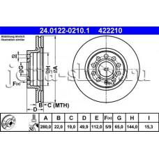 Диск тормозной передний для VW Jetta (1,6 CFNA, CLRA), ATE 24.0122-0210.1