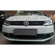 Защита радиатора для Volkswagen Jetta 6, Premium (Черная)